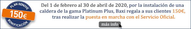 Plan Renove Baxi 150€ de regalo con la caldera platinum plus