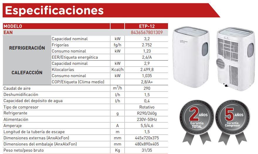 Ficha Técnica de aire acondicionado portatil eas electric ETP-12