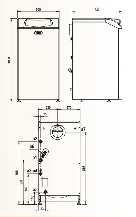 Dimension de caldera de gasoil ferroli silent eco 30 si unit